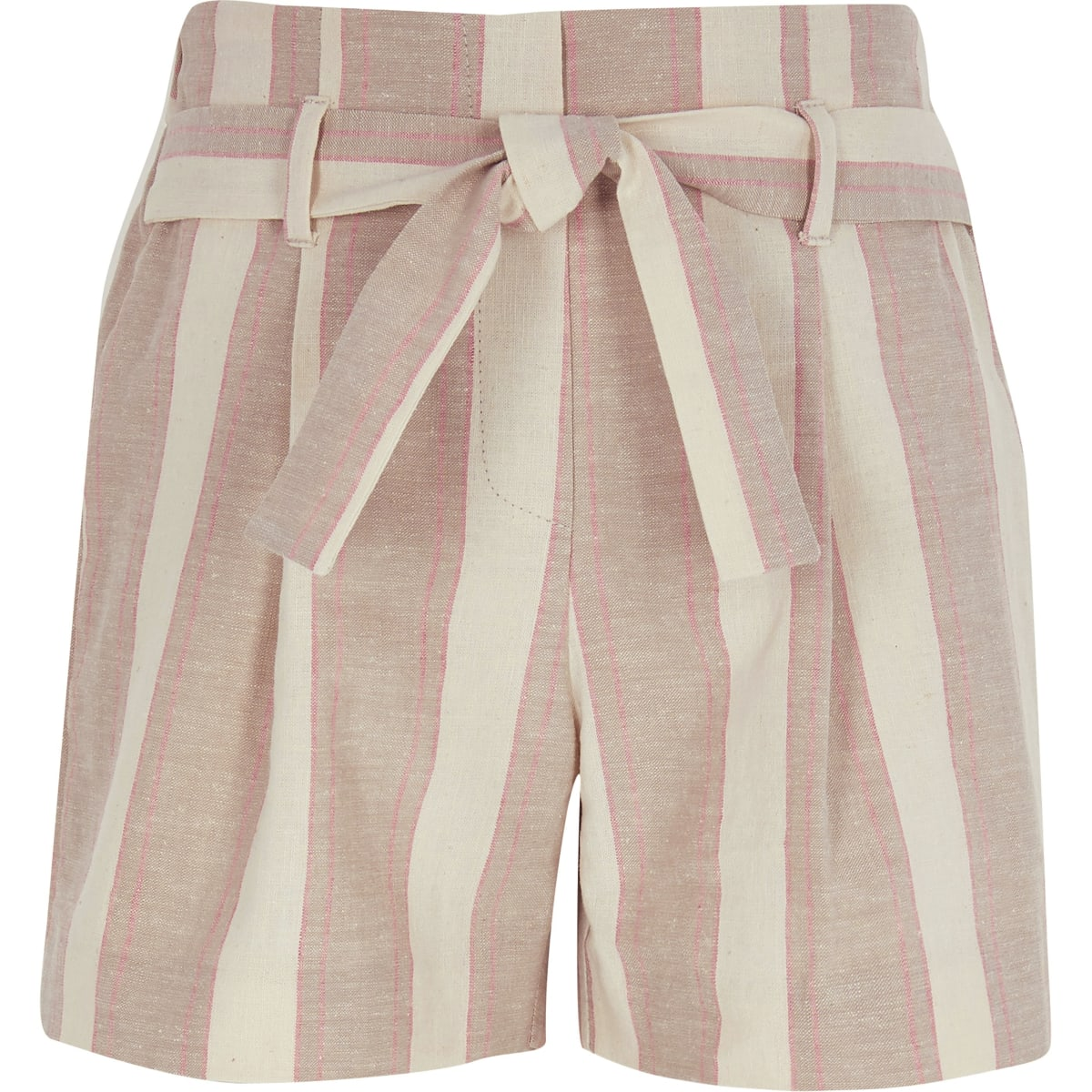 Girls beige stripe shorts