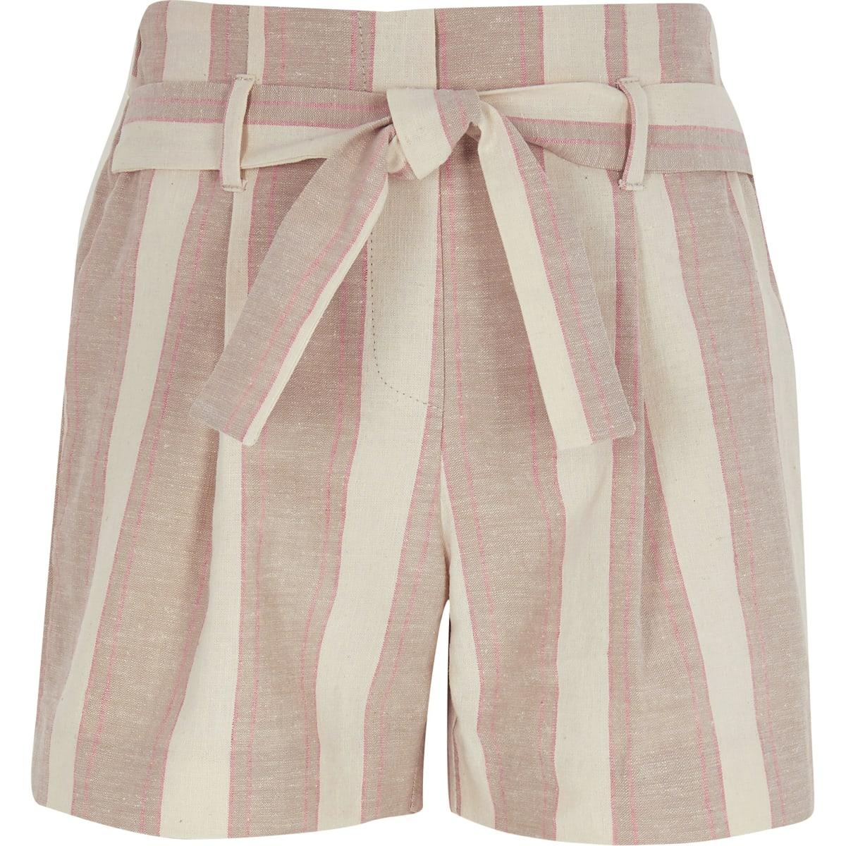 Girls beige stripe shorts