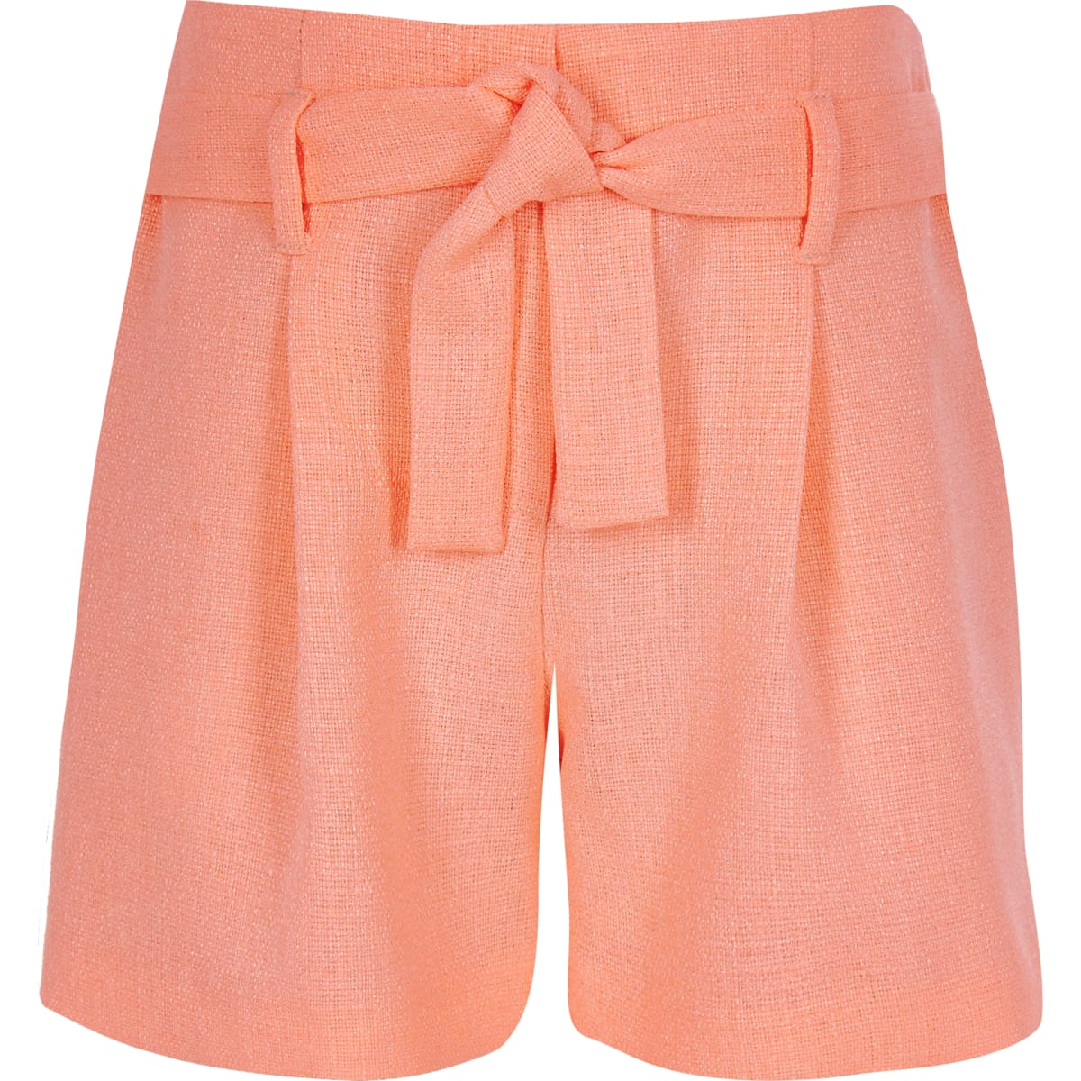 Girls coral belted shorts