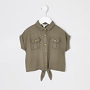 Utility-Shirt für Mädchen in Khaki mit gebundener Vorderseite