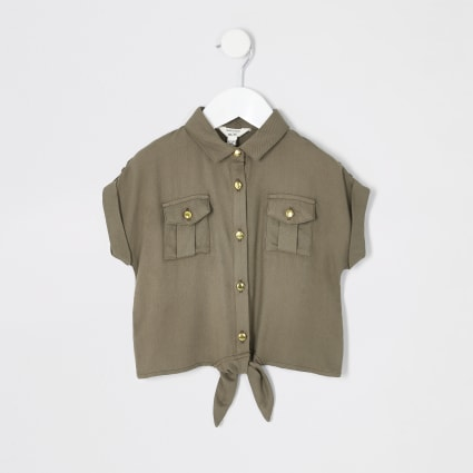 Mini girls khaki utility tie front shirt