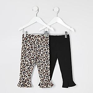 Lot de 2 leggings à ourlet évasé dont un imprimé léopard mini fille