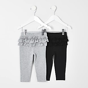 Mini girls grey black 2 pack ruffle leggings