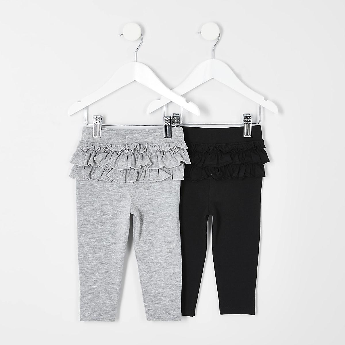 Mini - Set van 2 zwarte/grijze leggings met ruches voor meisjes