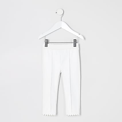 Mini girls white faux leather ponte leggings