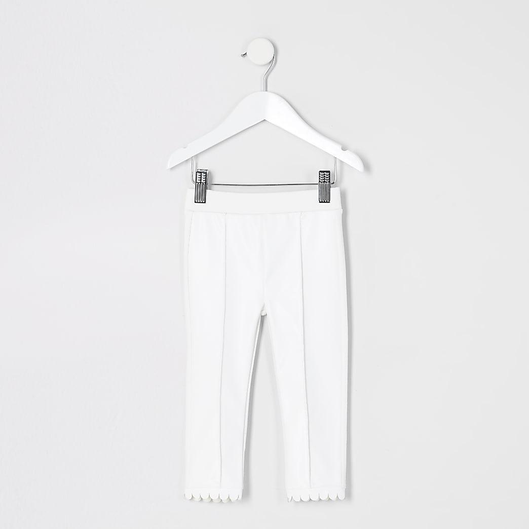 Mini girls white faux leather ponte leggings