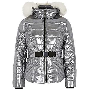 Manteau argenté matelassé avec capuche en fausse fourrure pour fille