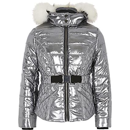 Girls silver padded faux fur hood coat