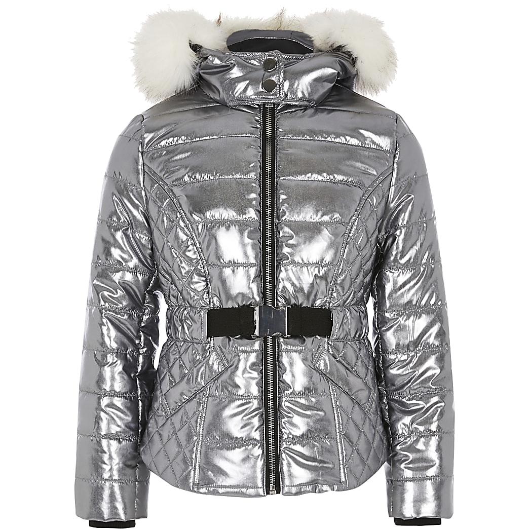Girls silver padded faux fur hood coat
