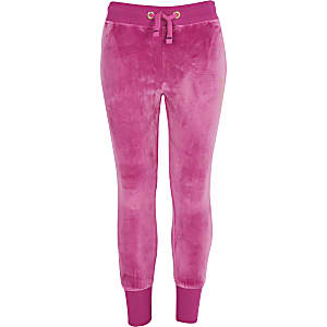 Juicy Couture – Pantalon de jogging en velours rose pour fille