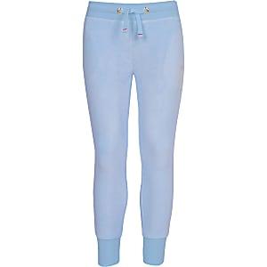 Juicy Couture - Blauwe velours joggingbroek voor meisjes