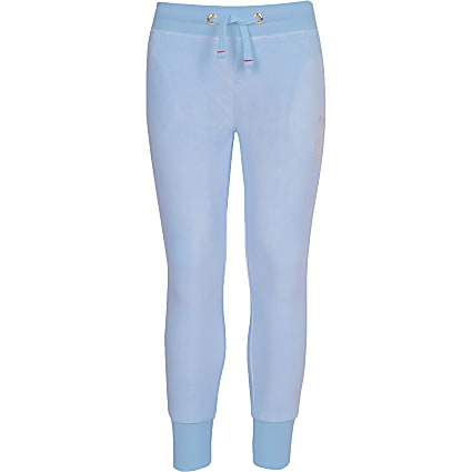 Girls Juicy Couture light blue velour joggers