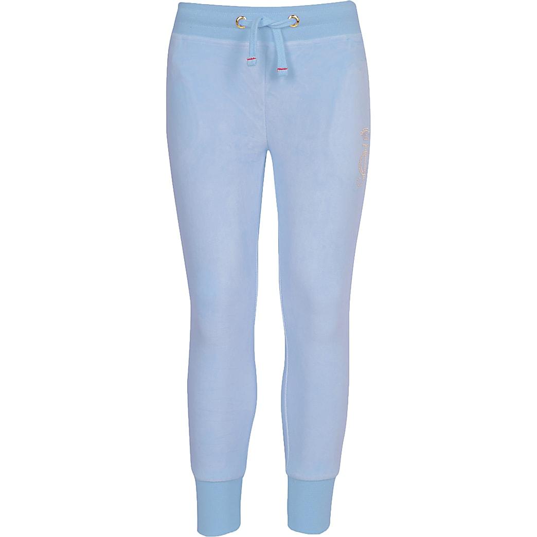 Juicy Couture – Pantalon de jogging en velours bleu clair pour fille