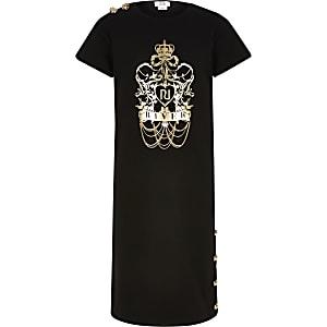 Robe t-shirt midi noire avec imprimémétallisépour fille