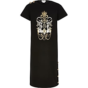 Zwarte midi-T-shirtjurk met folieprint voor meisjes