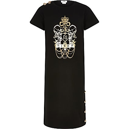 Girls black chain detail midi T-shirt dress