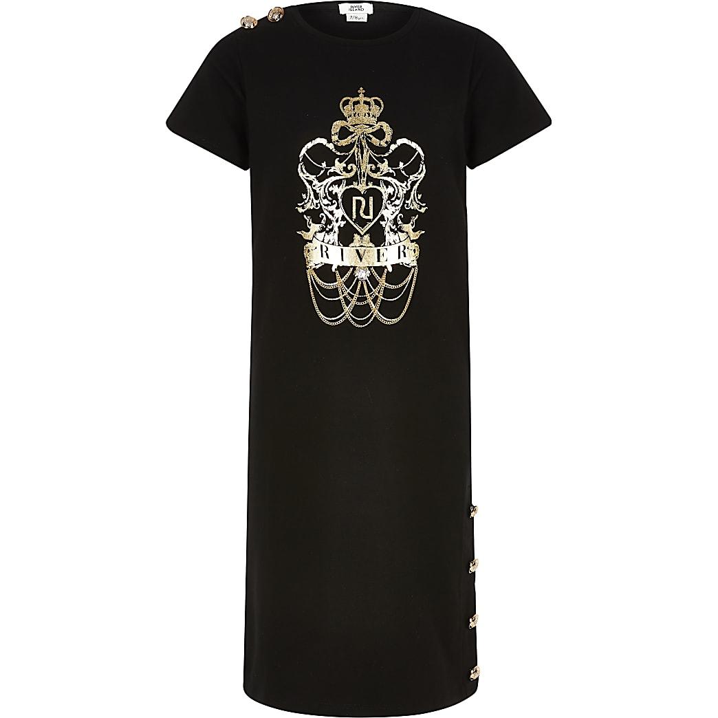 Girls black chain detail midi T-shirt dress