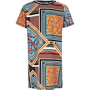 Oranje T-shirtjurk met print voor meisjes