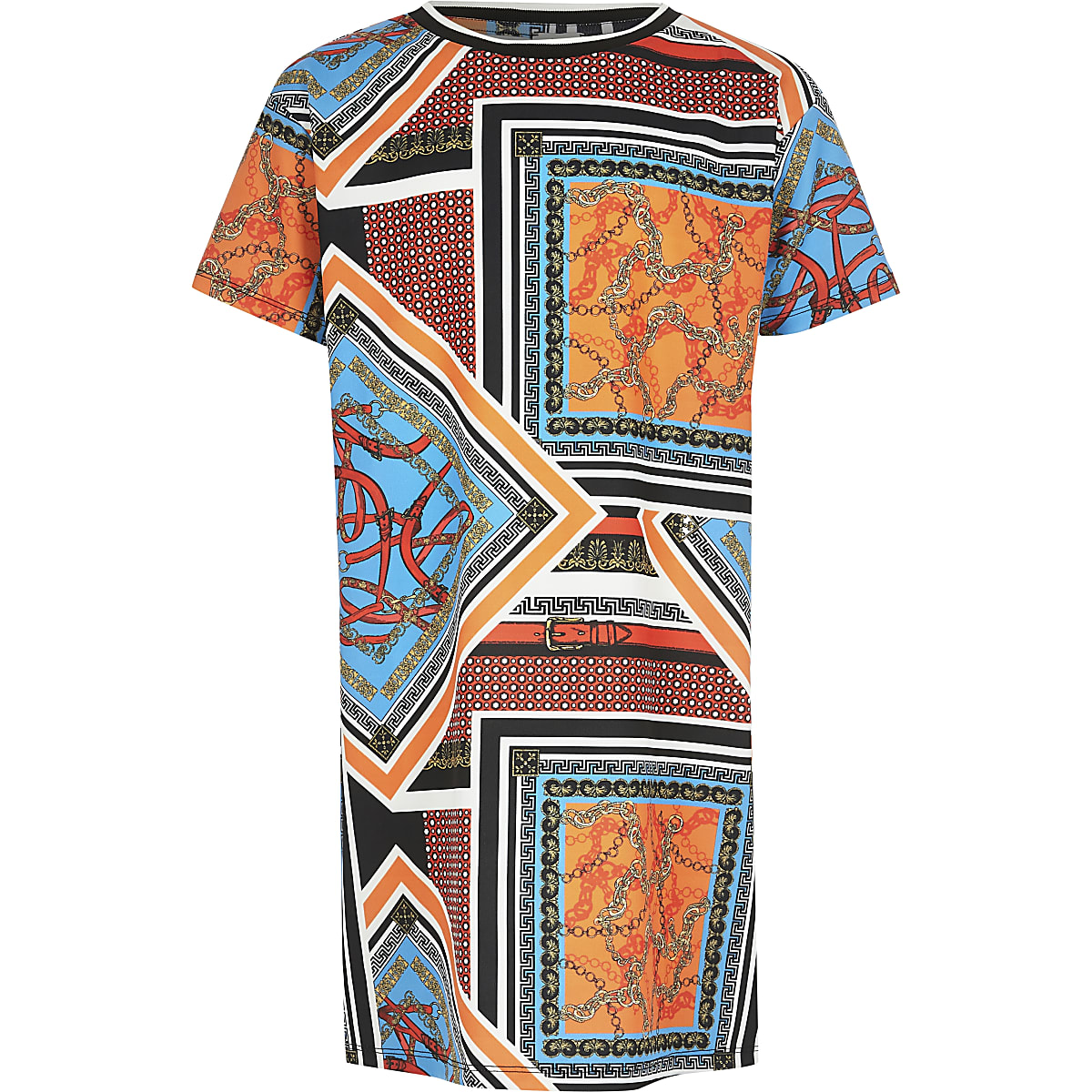 Girls orange printed T-shirt dress