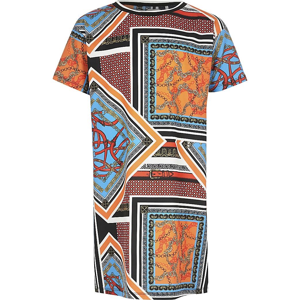 Girls orange printed T-shirt dress