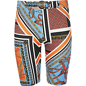 Bedruckte Randshorts in Orange