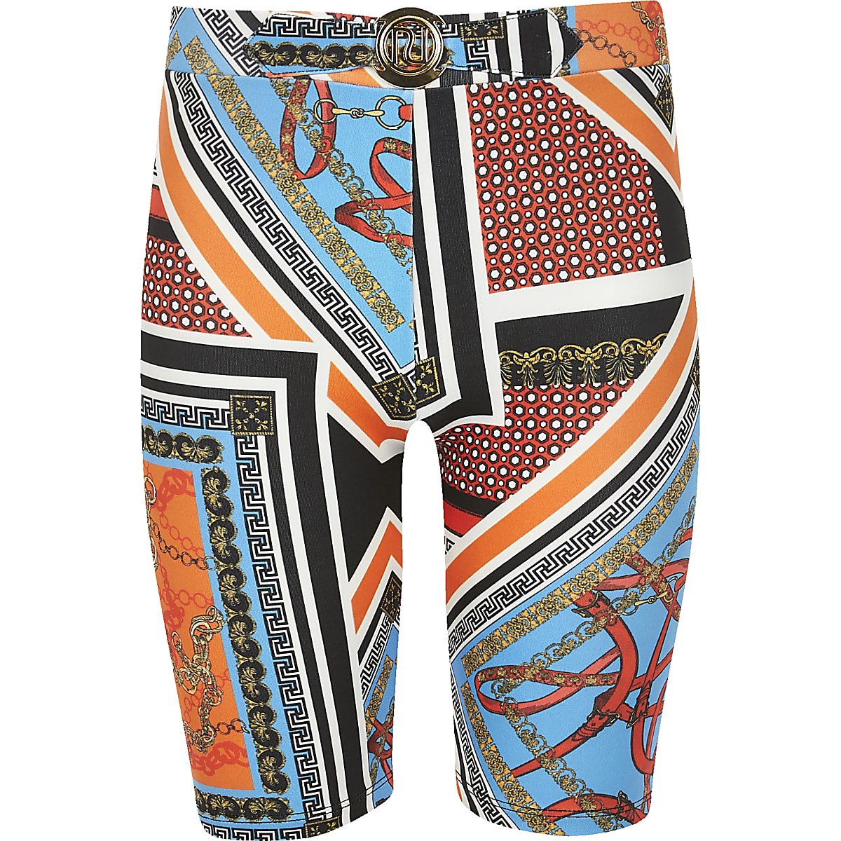 Girls orange chain print cycling shorts