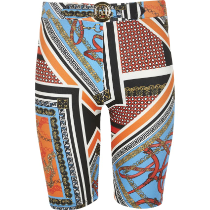 Girls orange chain print cycling shorts