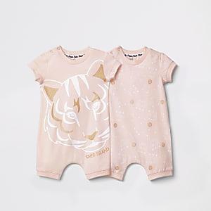 Set van twee roze rompertjes van tijgerprint voor baby's