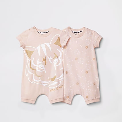 Baby pink tiger print two pack rompers