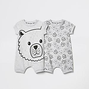 Lot de deux barboteuses imprimé ours grises pour bébé