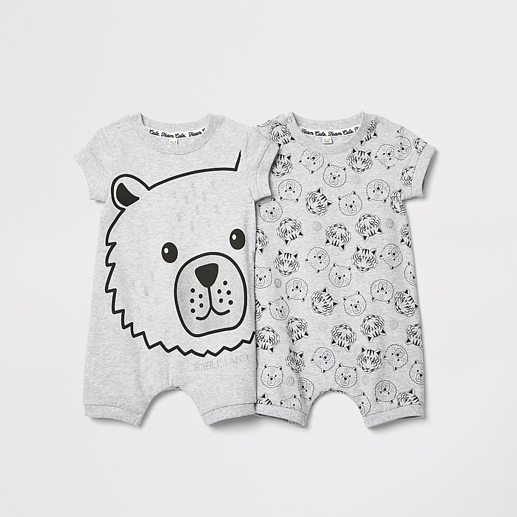 Baby grey bear print two pack rompers