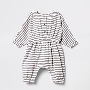 Baby pink stripe button up romper