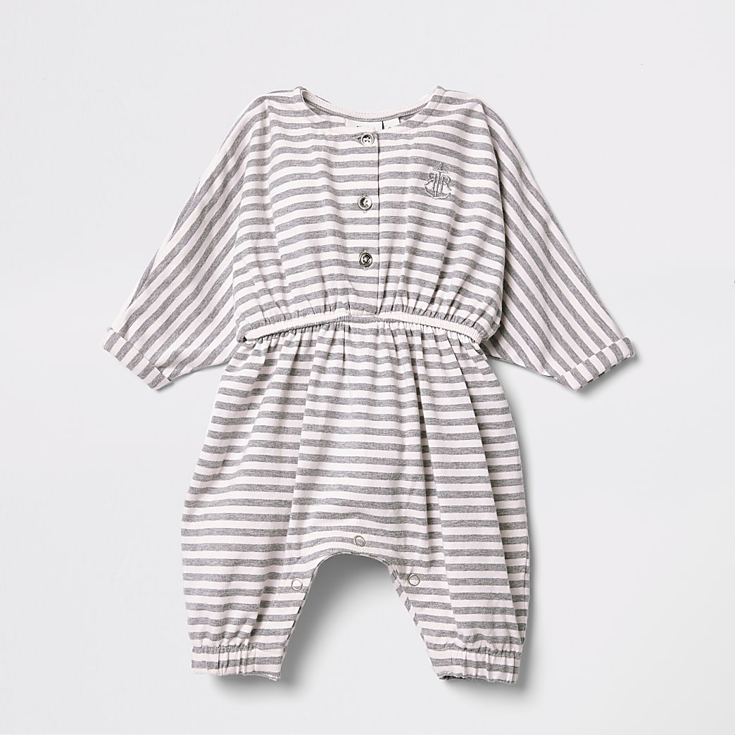 Baby pink stripe button up romper