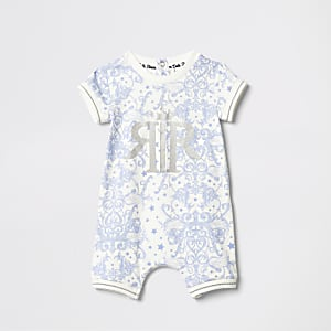Baby blue print romper