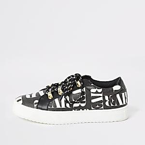 Zwarte sneakers met vetersluiting en RI-print voor meisjes