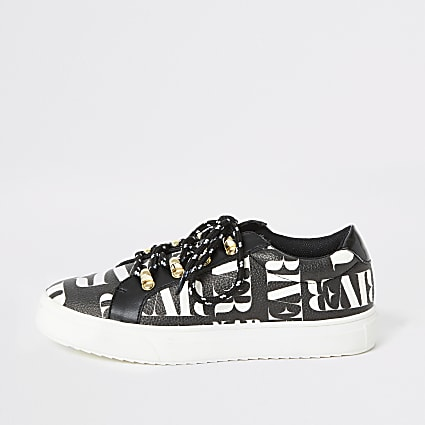 Girls black RI printed lace-up trainers