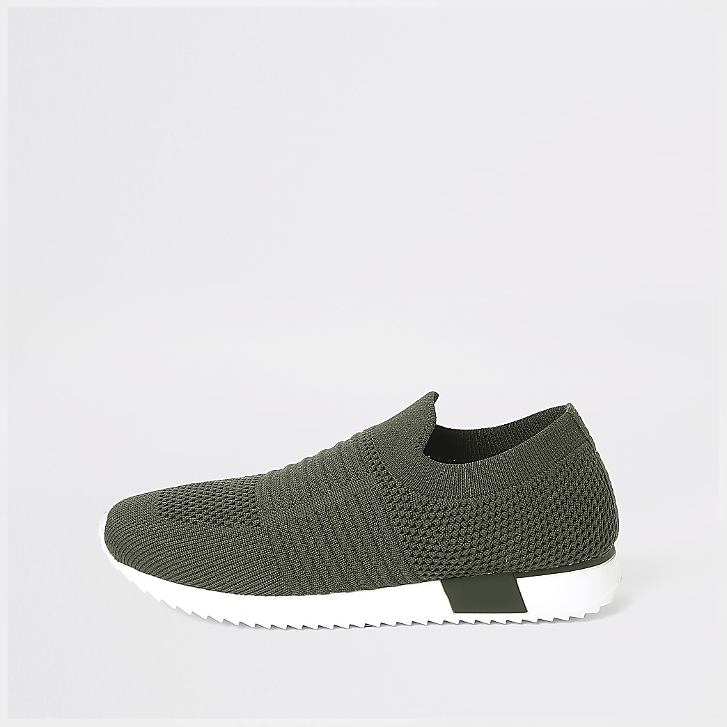 Kids khaki knit runner trainers