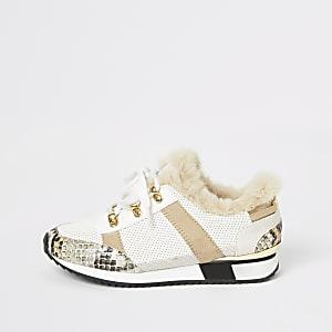 Beige sneakers met vetersluiting en rand van imitatiebont voor meisjes