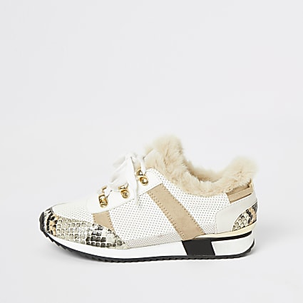 Girls beige faux fur lace-up cleated trainers