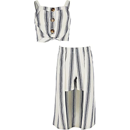 Girls blue stripe crop top and skort outfit