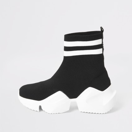 Girls black high top chunky sock trainers