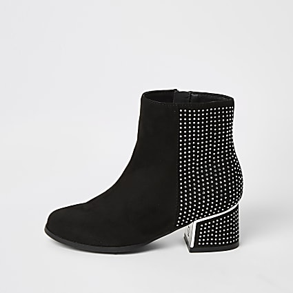 Girls black diamante heel ankle boots