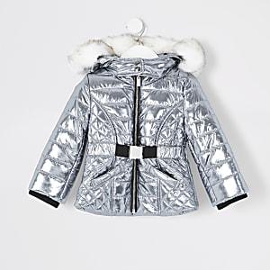 Veste matelassée argentée avec ceinture pour mini fille