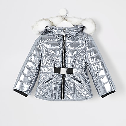 Mini girls silver belted padded jacket