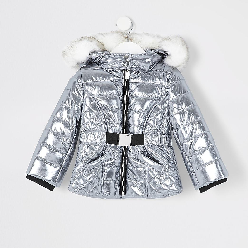 Silberne, gefütterte Jacke mit Gürtel für kleine Mädchen