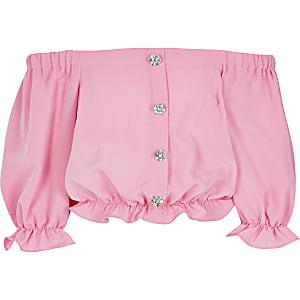 Top Bardot rose pour fille