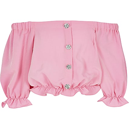 Girls pink bardot top