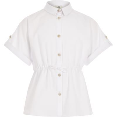 Girls White Short Sleeve Waisted Shirt by River Island