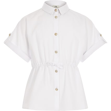 Girls white short sleeve waisted shirt