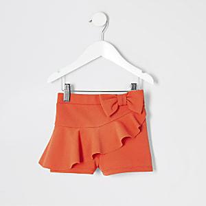Mini - Oranje short met ruches voor meisjes
